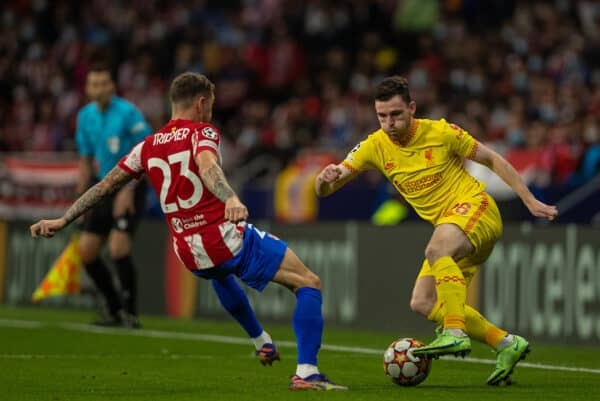 MADRID, SPAIN - Tuesday, October 19, 2021: Liverpool's Andy Robertson (R) and Club Atlético de Madrid's Kieran Trippier during the UEFA Champions League Group B Matchday 3 game between Club Atlético de Madrid and Liverpool FC at the Estadio Metropolitano. (Pic by David Rawcliffe/Propaganda)