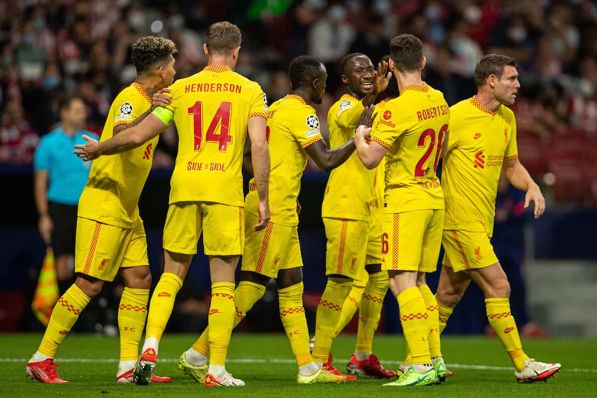 MADRID, SPAIN - Tuesday, October 19, 2021: Liverpool's Naby Keita (3rd from R) celebrates after scoring the second goal with team-mates during the UEFA Champions League Group B Matchday 3 game between Club Atlético de Madrid and Liverpool FC at the Estadio Metropolitano. (Pic by David Rawcliffe/Propaganda)