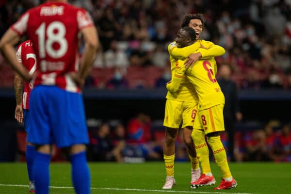 MADRID, SPAIN - Tuesday, October 19, 2021: Liverpool's Naby Keita (L) celebrates after scoring the second goal with team-mate Trent Alexander-Arnold (R) during the UEFA Champions League Group B Matchday 3 game between Club Atlético de Madrid and Liverpool FC at the Estadio Metropolitano. (Pic by David Rawcliffe/Propaganda)