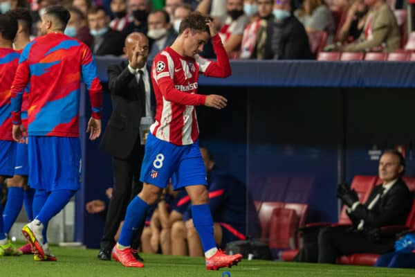 Club Atlético de Madrid's Antoine Griezmann walks off after being shown a red card and sent off during the UEFA Champions League Group B Matchday 3 game between Club Atlético de Madrid and Liverpool FC at the Estadio Metropolitano. (Pic by David Rawcliffe/Propaganda)