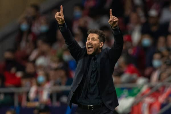 Club Atlético de Madrid's head coach Diego Simeone reacts during the UEFA Champions League Group B Matchday 3 game between Club Atlético de Madrid and Liverpool FC at the Estadio Metropolitano. (Pic by David Rawcliffe/Propaganda)
