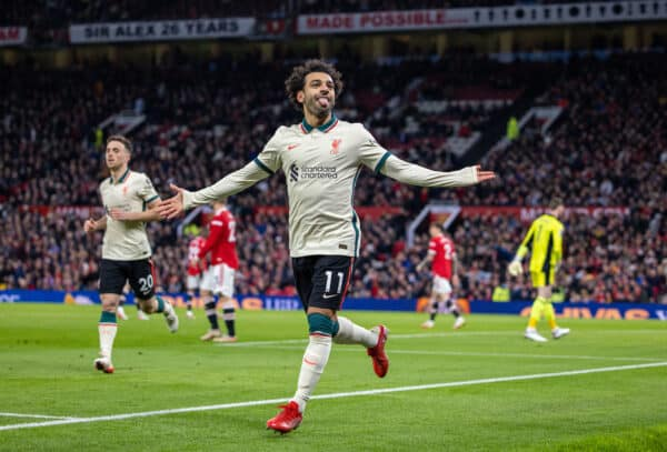 MANCHESTER, ENGLAND - Sunday, October 24, 2021: Liverpool's Mohamed Salah celebrates after scoring the fifth goal, completing his hat-trick, during the FA Premier League match between Manchester United FC and Liverpool FC at Old Trafford. Liverpool won 5-0. (Pic by David Rawcliffe/Propaganda)