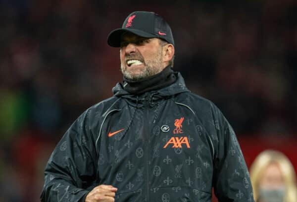 MANCHESTER, ENGLAND - Sunday, October 24, 2021: Liverpool's manager Jürgen Klopp celebrates after the FA Premier League match between Manchester United FC and Liverpool FC at Old Trafford. Liverpool won 5-0. (Pic by David Rawcliffe/Propaganda)