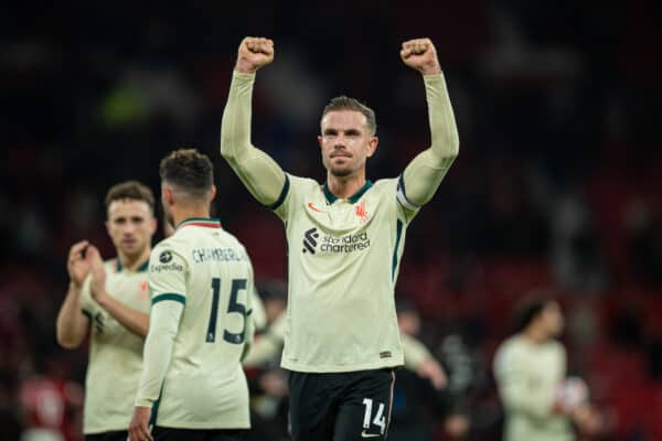 MANCHESTER, ENGLAND - Sunday, October 24, 2021: Liverpool's captain Jordan Henderson celebrates after the FA Premier League match between Manchester United FC and Liverpool FC at Old Trafford. Liverpool won 5-0. (Pic by David Rawcliffe/Propaganda)