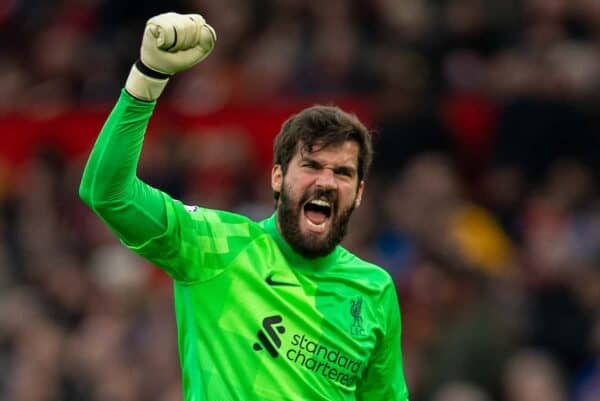MANCHESTER, ENGLAND - Sunday 24 October 2021: Liverpool goalkeeper Alisson Becker celebrates his side's fourth goal during the FA Premier League game between Manchester United FC and Liverpool FC at Old Trafford.  Liverpool won 5-0.  (Image by David Rawcliffe / Propaganda)