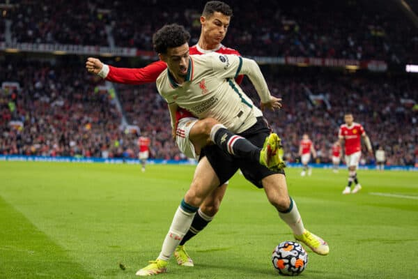 MANCHESTER, ENGLAND - Sunday 24 October 2021: Manchester United's Cristiano Ronaldo (R) competes against Liverpool's Curtis Jones during the FA Premier League game between Manchester United FC and Liverpool FC at Old Trafford.  (Image by David Rawcliffe / Propaganda)