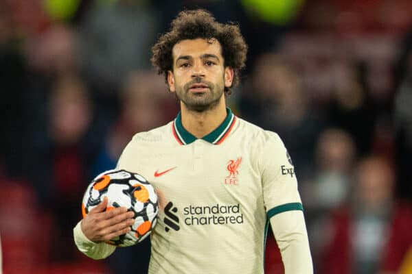 MANCHESTER, ENGLAND - Sunday, October 24, 2021: Liverpool's hat-trick hero Mohamed Salah, who scored in his 10th consecutive game, with the match ball after the FA Premier League match between Manchester United FC and Liverpool FC at Old Trafford. Liverpool won 5-0. (Pic by David Rawcliffe/Propaganda)