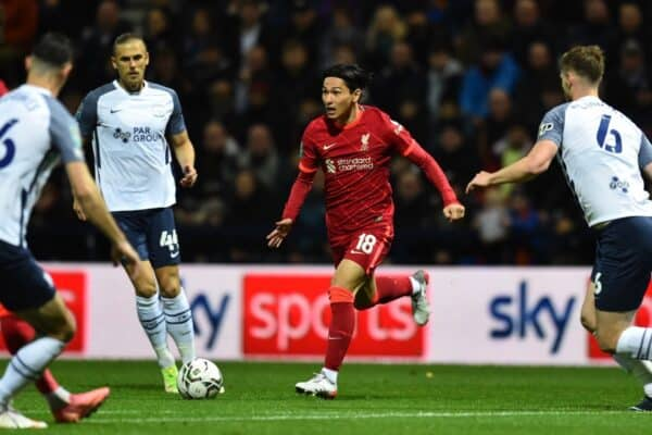 PRESTON, ENGLAND - Wednesday, October 27, 2021: Liverpool's Takumi Minamino during the English Football League Cup 4th Round match between Preston North End FC and Liverpool FC at Deepdale. (Pic by David Rawcliffe/Propaganda)