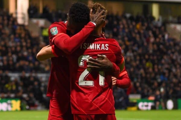 PRESTON, ENGLAND - Wednesday, October 27, 2021: Liverpool's Divock Origi (L) celebrates with team-mate Kostas Tsimikas after scoring the second goal during the English Football League Cup 4th Round match between Preston North End FC and Liverpool FC at Deepdale. Liverpool won 2-0. (Pic by David Rawcliffe/Propaganda)