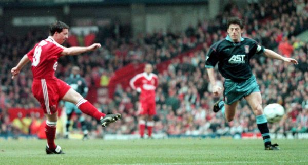 Liverpool V Aston Villa : Robbie Fowler fires home Liverpools second goal and his first during their FA Carling Premiership match against Aston Villa at Anfield. 03-Mar-1996 ( David Kendall/PA Archive/PA Images)