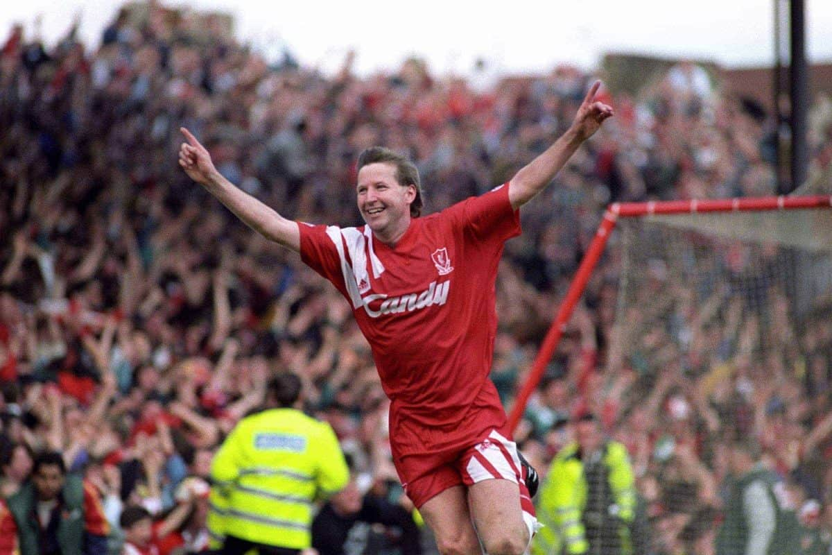 Liverpool's Ronnie Whelan celebrates scoring the equalizing goal 3 minutes from time to earn a replay