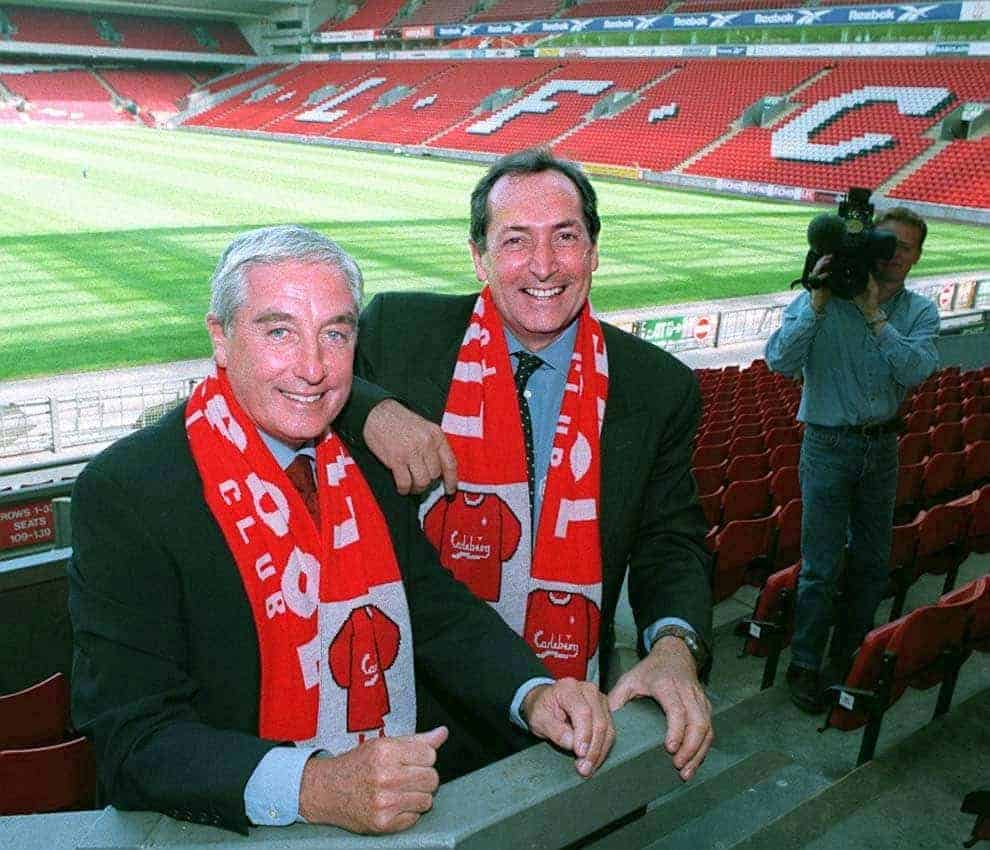 Gerard Houllier (right), who has joined Liverpool Manager Roy Evans, to form a managerial partnership at Anfield, today (Thursday). See PA Story SOCCER Liverpool. PA Photos