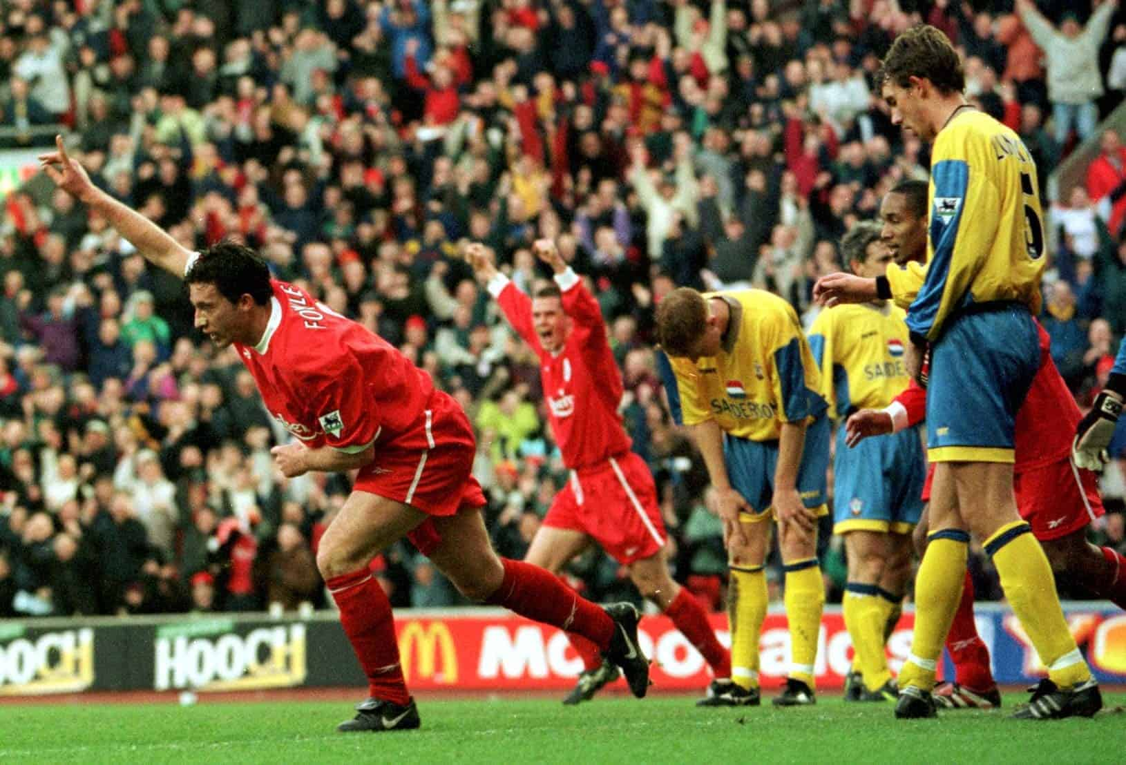Liverpool's Robbie Fowler celebrates after scoring a goal for Liverpool during their FA Carling Premiership clash against Southampton at Anfield. Liverpool won the match 7-1. 16-Jan-1999 (David Kendall/PA Archive/PA Images)