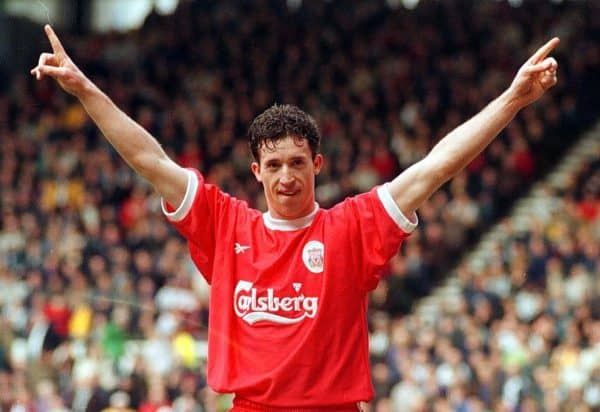 Robbie Fowler celebrates after scoring for Liverpool against Derby County, during their FA Premiership football match at Pride Park, Derby. 1999. Rui Vieira/PA Archive/PA Images)