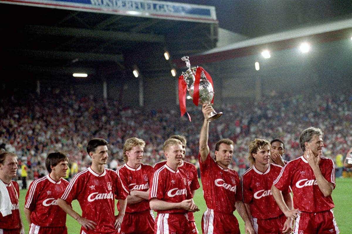 Liverpool celebrate winning the first division title. 1990.