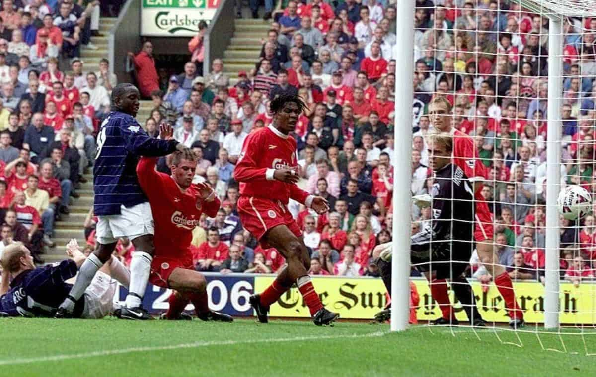 Liverpool defence can only watch as Jamie Carragher (1st Liverpool player on left) scores his second own goal during the premiership match against Manchester United at Anfield .