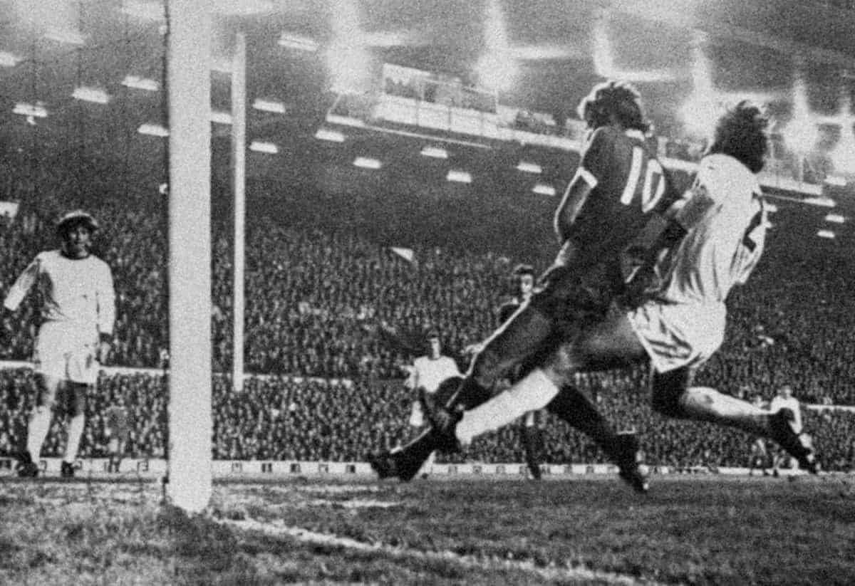 John Toshack (c) sees his shot cleared off the line. Liverpool vs. Red Star Belgrade, Anfield, 1973 ( PA/PA Archive/PA Images)