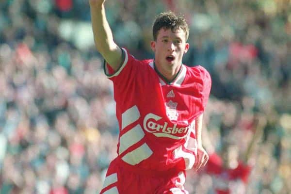 Liverpool striker Robbie Fowler celebrates after scoring his second goal against Arsenal. 1994 ( CROFT MALCOLM CROFT/PA Archive/PA Images)
