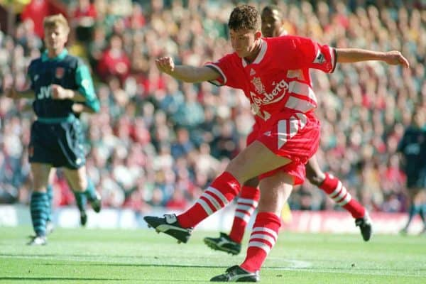 Robbie Fowler scoring his second goal against Arsenal at Anfield.