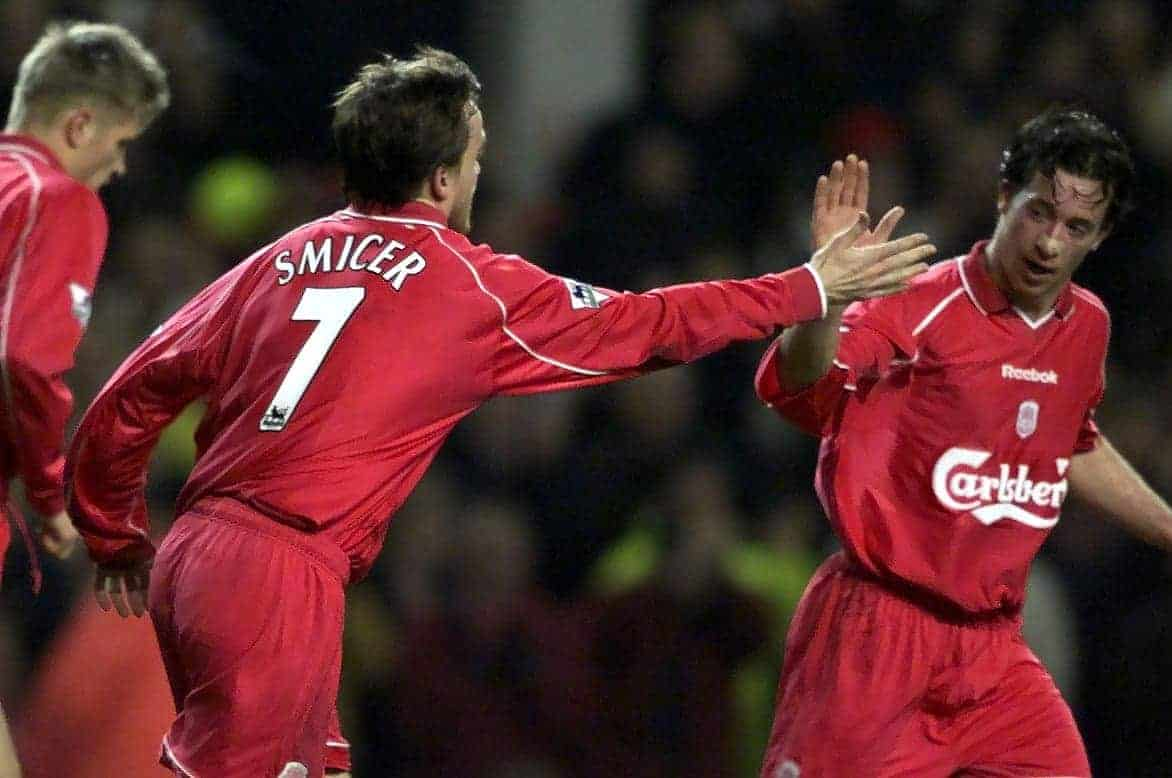 Liverpool's Robbie Fowler (right) congratulates team mate Vladimir Smicer on scoring the opening goal against Crystal Palace, during their Worthington Cup Semi-Final Second Leg football match at Anfield, in Liverpool.