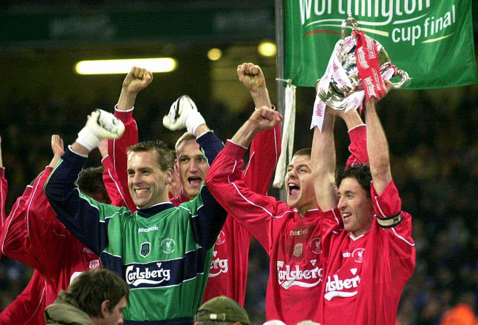 Robbie Fowler holds up the Worthington Cup after his side beat Birmingham City following a penalty shoot-out in the Final, at the Millennium Stadium, in Cardiff. 25-Feb-2001 (Picture by David Jones PA Archive/PA Images)