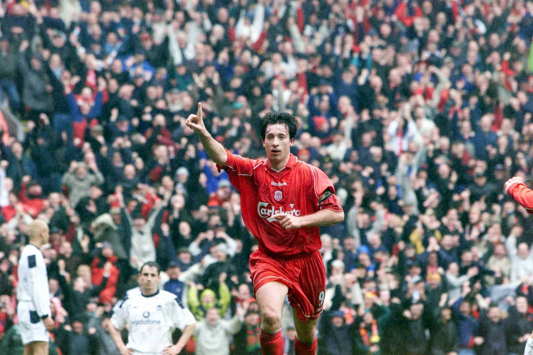 Robbie Fowler celebrates scoring Liverpool's second goal during the FA Carling Premiership game against Manchester United at Anfield, Liverpool.