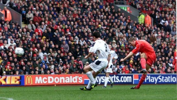 Steven Gerrard scores Liverpool's opening goal during the FA Carling Premiership game against Manchester United at Anfield, Liverpool. March 2001 (David Davies/PA Archive/PA Images)