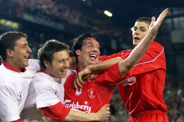 Liverpool's Robbie Fowler celebrates scoring the fourth goal with team mates (from left) Gregory Vignal, Nicky Barmby and Steven Gerrard during the UEFA Cup Final at the Westfalen Stadium, Dortmund.