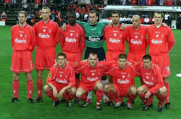 May, 2001: The Liverpool team group line up for photographers before the UEFA Cup Final at the Westfalen Stadium, Dortmund (Picture by: David Davies / PA Archive/Press Association Images)