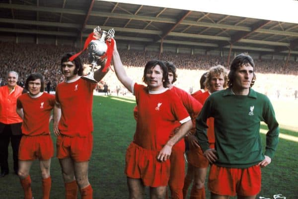 L-R: Brian Hall, Larry LLoyd, Tommy Smith, Alec Lindsay and Ray Clemence all Liverpool, 1973 ( Peter Robinson/EMPICS Sport)