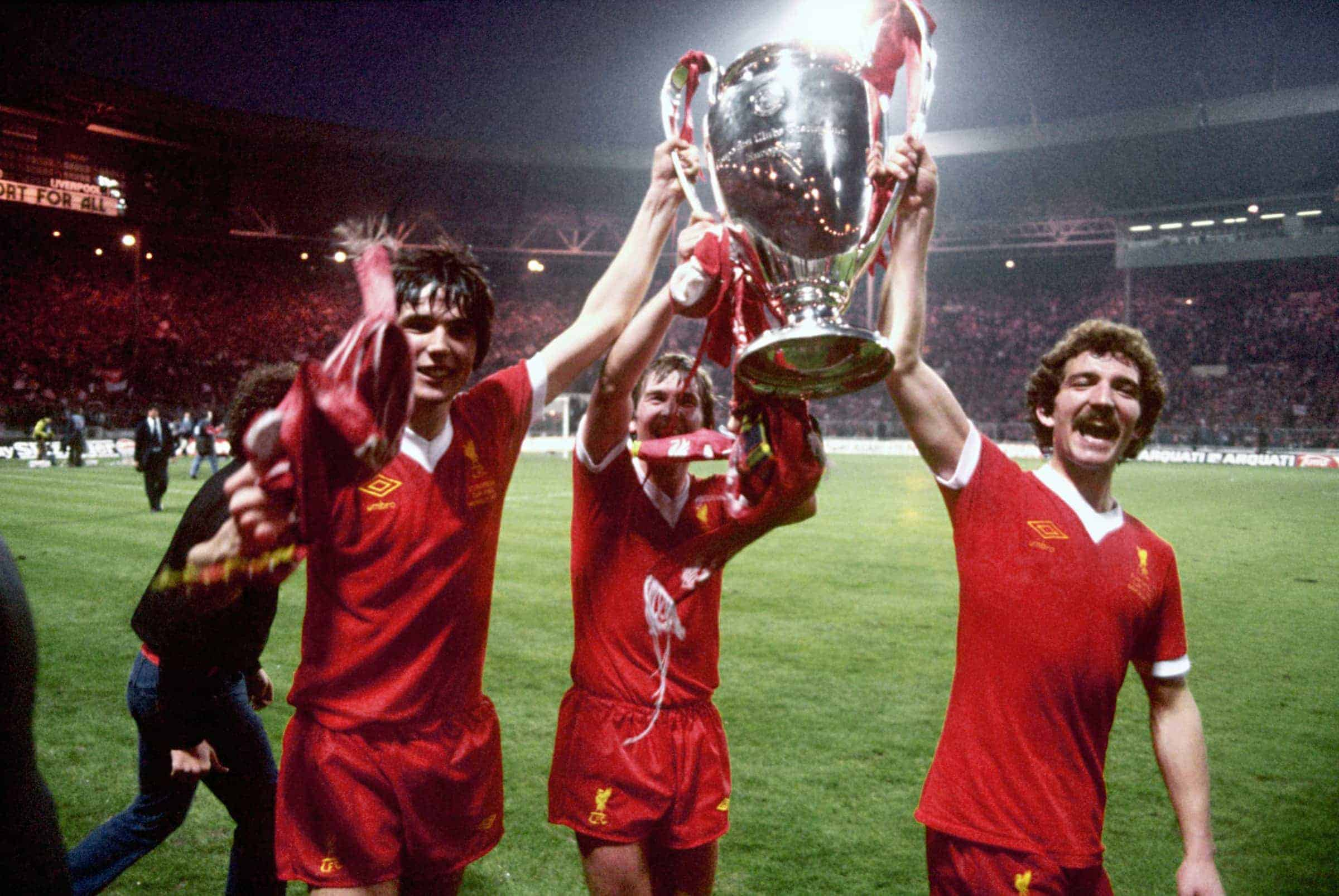 Alan Hansen, Kenny Dalglish and Graeme Souness celebrate with the cup, 1978 (Picture by Peter Robinson EMPICS Sport)