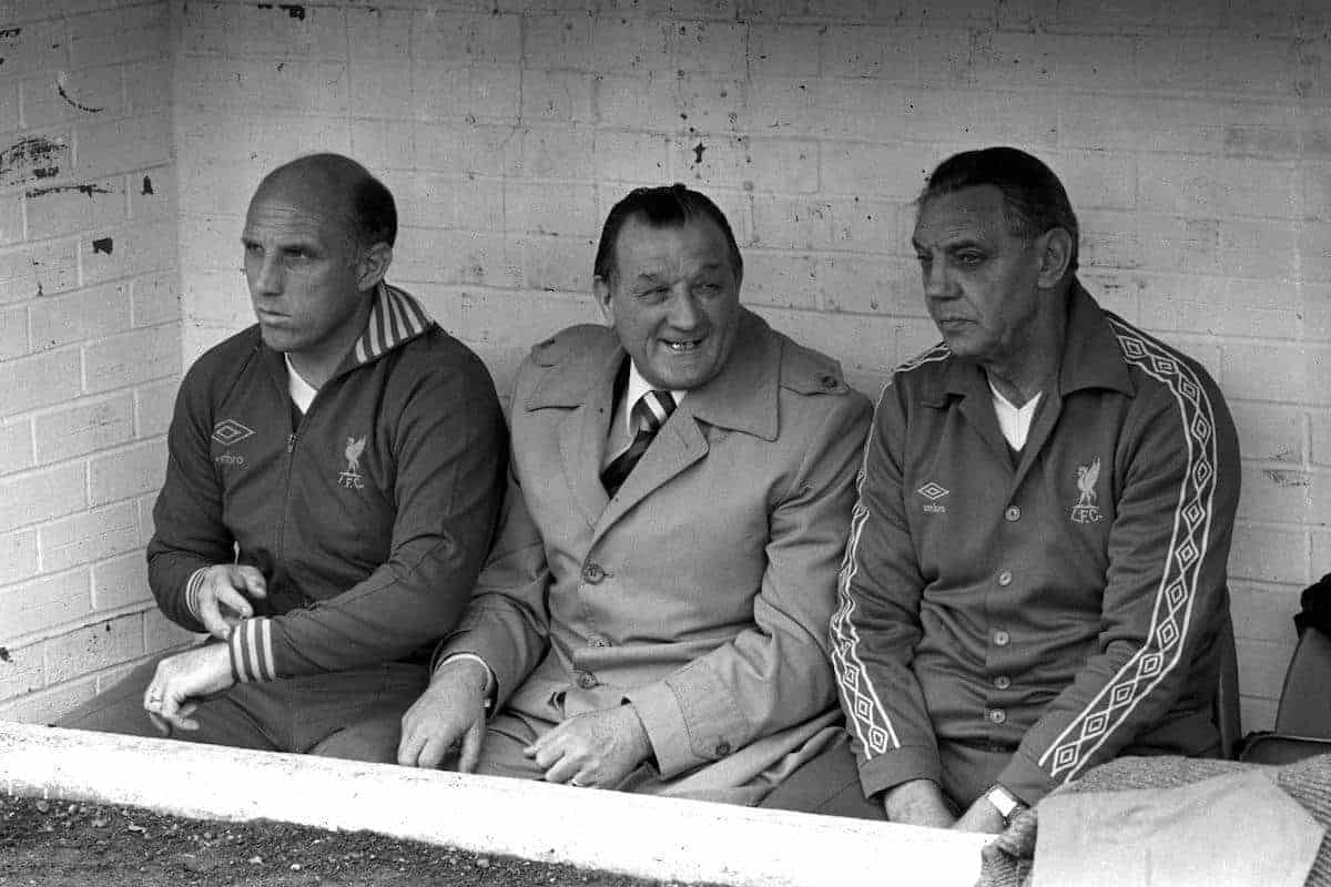 Manager Bob Paisley (centre), who took over from Bill Shankly in 1974, is flanked by trainer Ronnie Moran (l) and assistant manager Joe Fagan. (Picture by PA PA Archive/PA Images)