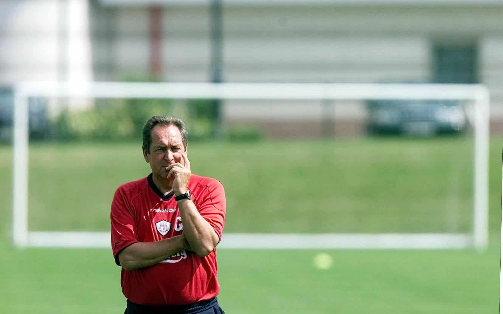 Liverpool's Gerard Houllier takes part in an open training session at the club's Academy training ground. (2001) ( Gareth Copley/PA Archive/PA Images)