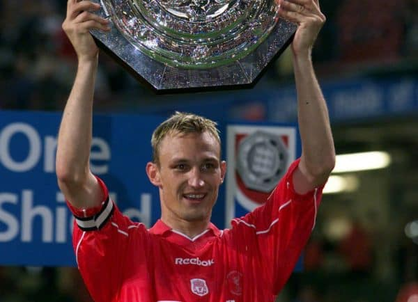 Liverpool captain Sami Hyypia holds up the Charity Shield, after beating Manchester United in the One2One FA Charity Shield Final at the  Millennium Stadium in Cardiff. 4/3/02: The Charity Shield, which will be the subject of findings published from an inquiry surrounding allegations that the 2000 Charity Shield football match broke fund-raising regulations. The inquiry, conducted by The Charity Commission centres on the Football Association's (FA) running of the curtain-raiser to the football season, and considered claims that charities were not benefiting as they should from the hundreds of thousands of pounds raised.  cslmu