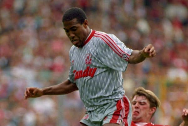 PENALTY INCIDENT. MANCHESTER UNITED'S GARY PALLISTER TRIPS UP LIVERPOOL'S JOHN BARNES. LIVERPOOL V MANCHESTER UNITED. 1990 CHARITY SHIELD AT WEMBLEY.