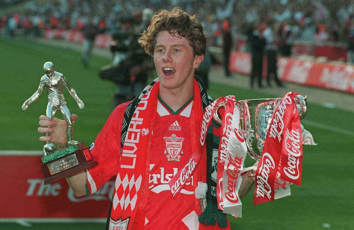 Coca Cola Cup Final. Liverpool v Bolton. Steve McManaman with the trophy (Picture by Tony Marshall EMPICS Sport)