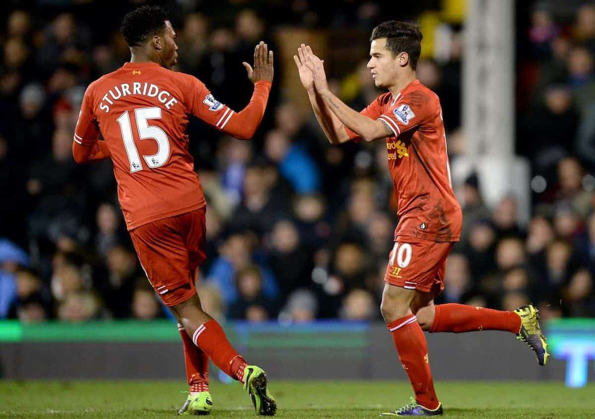 Liverpool's Philippe Coutinho (right) celebrates with team-mate Daniel Sturridge (left) after scoring his team's second goal vs. Fulham, 2013. (Picture by Andrew Matthews PA Archive/PA Images)
