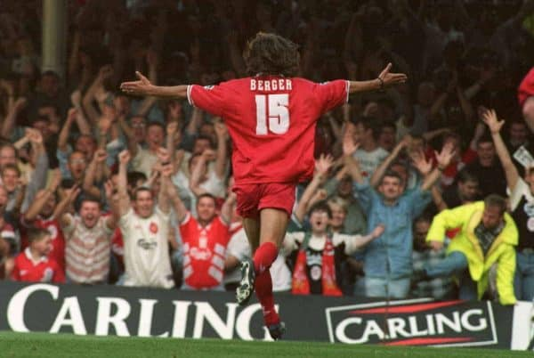 Patrik Berger races over to the Liverpool fans after scoring his second goal