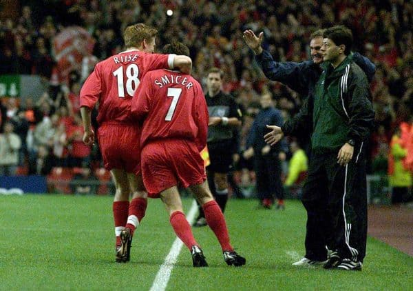 Liverpools Vladimir Smicer celebrates his goal with John Arne Riise as Phil Thompson (right) looks on during the Champions League group B match at Anfield, Liverpool, 2001 (PA Images)