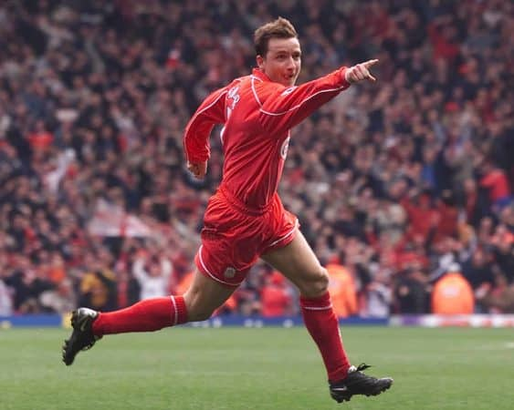 Liverpool's Vladimir Smicer celebrates after his 90th minute winner in the FA Barclaycard Premiership match against Chelsea at Anfield. Liverpool won 1-0. (PA Images)