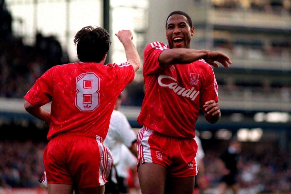 John Barnes, Peter Beardsley, Liverpool, 1988 (Picture by Ross Kinnaird EMPICS Sport)