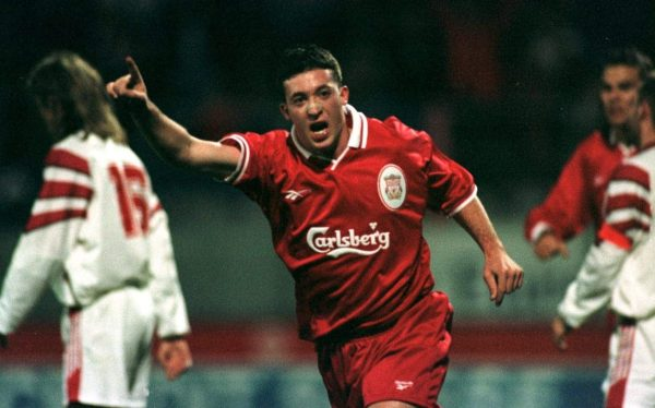 Liverpool's Robbie Fowler celebrates the equalising goal, FC Sion, 1996 (Dave Rawcliffe / EMPICS)