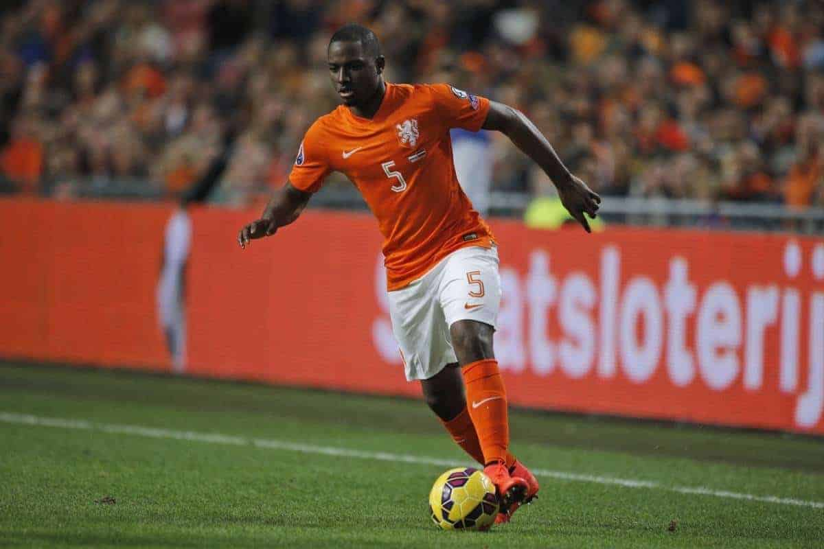 Netherlands' Jetro Willems passes ball during the Euro 2016 group A qualifying round soccer match between the Netherlands and Latvia at ArenA stadium in Amsterdam, Netherlands, Sunday, Nov. 16, 2014. (AP Photo/Peter Dejong)