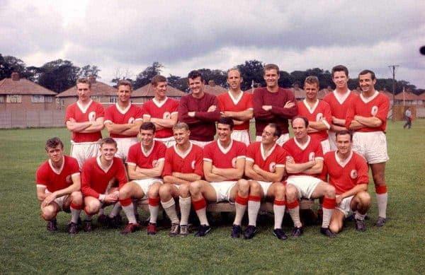 Liverpool squad 1962-63: (back row, l-r) Phil Ferns, Gordon Milne, Wilf Stevenson, Tommy Lawrence, Ronnie Moran, Jim Furnell, Alan A'Court, Chris Lawler, Gerry Byrne; (front row, l-r) Alf Arrowsmith, Gordon Wallace, Ian Callaghan, Roger Hunt, Ron Yeats, Ian St John, Jimmy Melia, ?