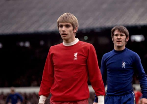 (L-R) Liverpool's Alun Evans is marked by Chelsea's Dave Webb