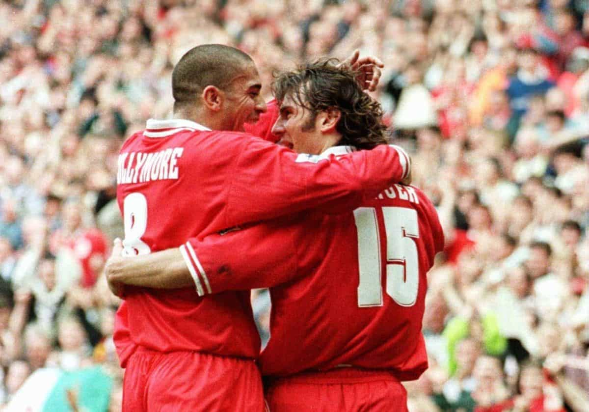 Liverpool's Stan Collymore congratulates Patrik Berger on his winning goal