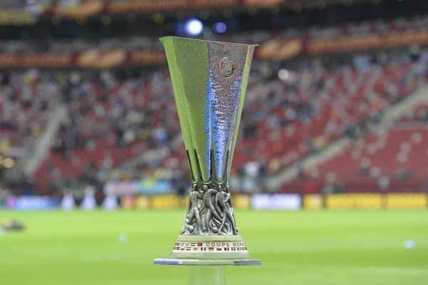 The trophy is on display prior to the final of the soccer Europa League between FC Dnipro Dnipropetrovsk and Sevilla FC at the National Stadium in Warsaw, Poland, Wednesday, May 27, 2015. (AP Photo/Alik Keplicz)