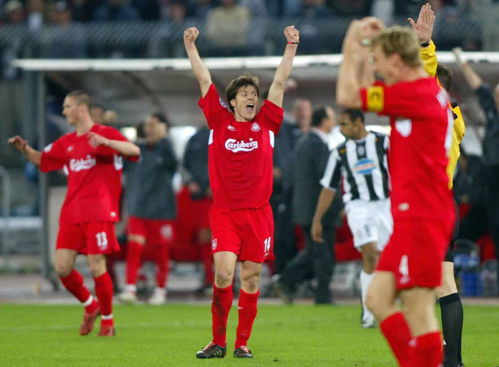 Liverpool's Xabi Alonso (C) celebrates with team-mates at full time. Juventus, 2005 (Martin Rickett/PA Archive/PA Images)