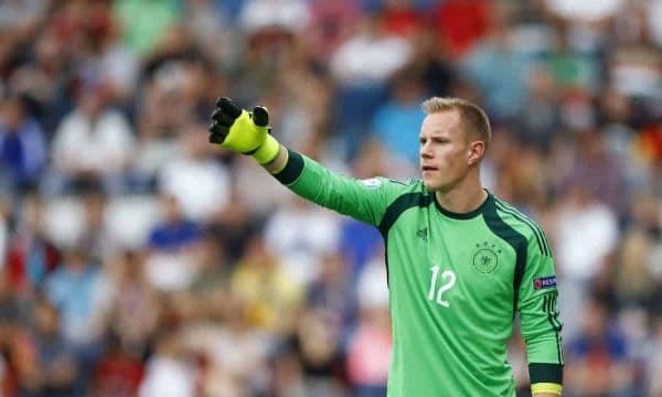 Germany's goalkeeper Marc-Andre ter Stegen gestures during the Euro U21 soccer championship semi final match between Portugal and Germany, at the Ander stadium in Olomouc, Czech Republic, Saturday, June 27, 2015. (AP Photo/Matthias Schrader)