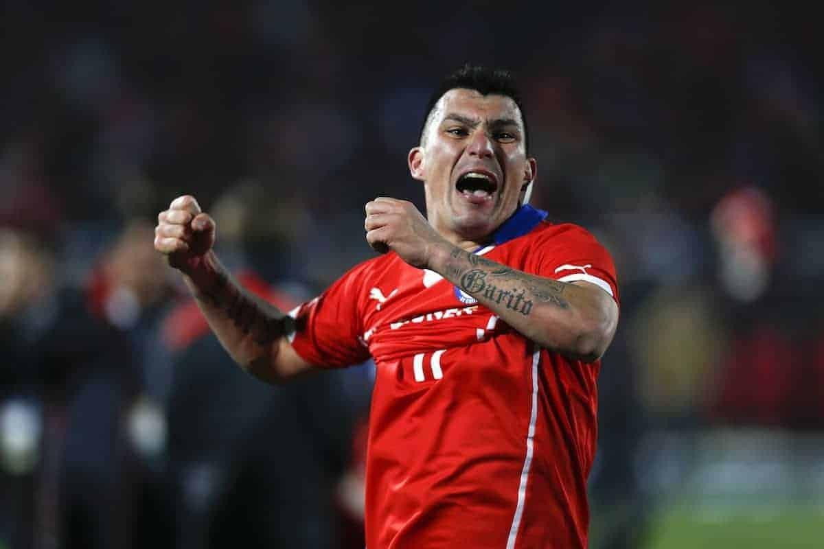 Chile's Gary Medel celebrates after Chile won the Copa America final soccer match against Argentina at the National Stadium in Santiago, Chile, Saturday, July 4, 2015. (AP Photo/Luis Hidalgo)